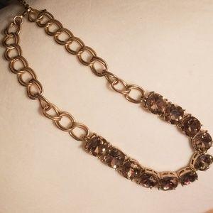 Gold Chunky Cushion Cut Gemstone Style Necklace